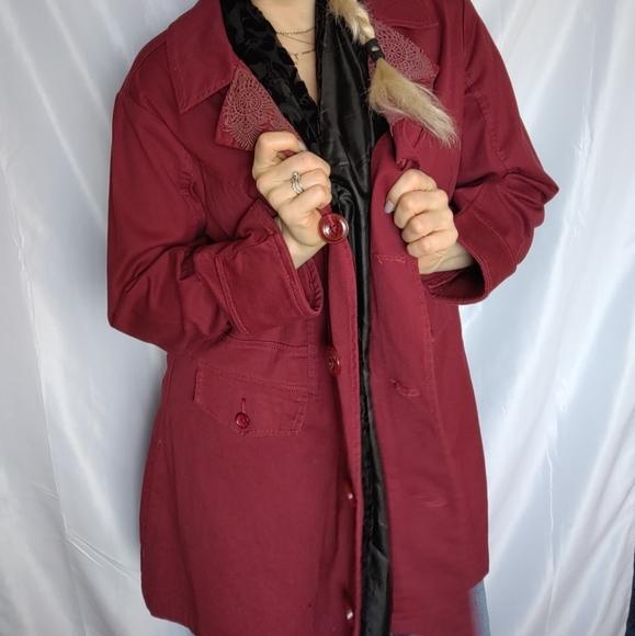 2x Wine Cotton Denim Jacket Oversized Coat Blazer